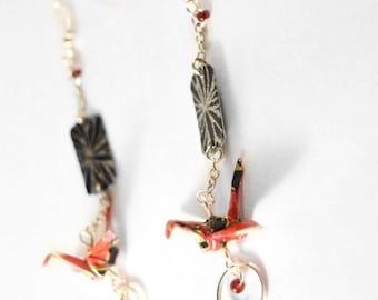 Origami Cranes Kinkaku-ji金閣寺 earrings.