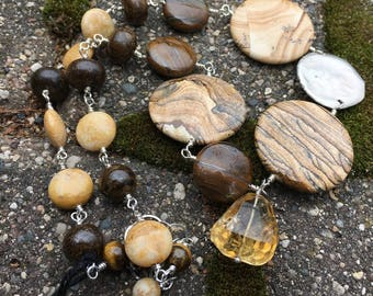 One of a Kind Chunky Necklace with Picture Jasper Citrine Bronzite Tiger Iron Fossil Coral and Sterling Silver