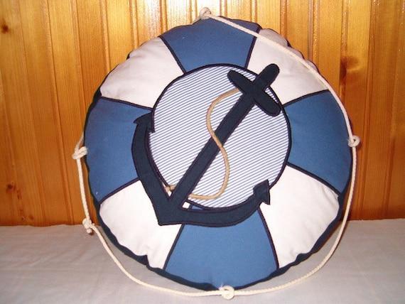 Lifesaver Pillow, Lifebelt Pillow, Life Buoy Pillow,  Life Preserver, Blue and White Nautical Ocean Beach Theme