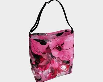 Floral Pattern Day Tote Bag, Pink and Black, Shoulder Bag, Large Purse, Womens Bag, Gift for Her, Large Bag, Tote, Purse, Colorful, Handbag