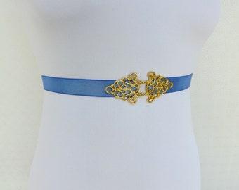 Royal blue Elastic Waist Belt. Gold filigree buckle. Elegant dress belt.