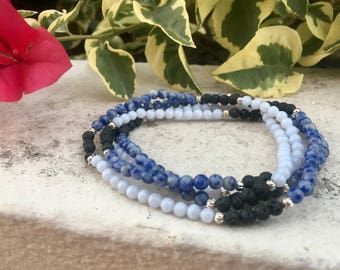Sodalite, Blue Lace Agate Aromatherapy Diffuser Gemstone Necklace or Bracelet-Wrappable lava, chakra jewelry, multistrand jewelry