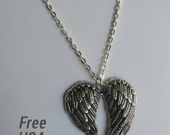 Angel Wings Necklace - Shaped as Heart, Large Pendant on Silver Plated Chain - Free US Shipping