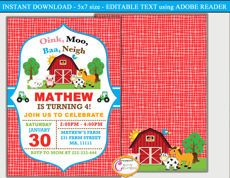 farm barnyard birthday party invitations. barnyard farm animals ...