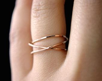 14K Rose Gold Fill Wraparound ring, rose gold wrap ring, wrapped rose gold ring, rose gold wrap ring, rose gold loop ring, wrap ring