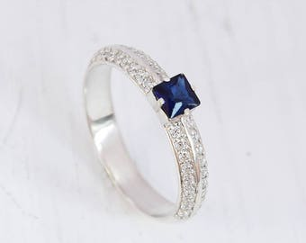 Art deco ring, Engagement ring silver, Sapphire ring, Silver sapphire ring, Blue sapphire ring, September birthstone, Princess cut ring