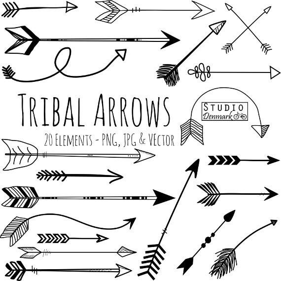 Line Art Arrow : Tribal arrow clipart and vectors hand drawn clip art