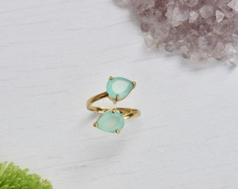 chalcedony adjustable ring, gold filled ring, 2 stone ring, adjustable double ring, summer ring, aqua gift, teardrop ring,index finger ring