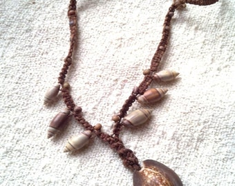 Braided Bead & Shell Necklace