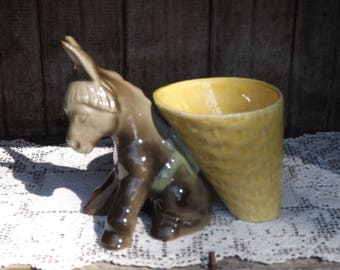 Vintage Donkey with Basket Planter/Planters and Pots/Home and Living/Home and Garden/Mid Century Planter/Indoor Planter/Succulent Planter