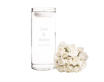 Personalized Glass Wedding Floating Candle Centerpieces Unity Candle