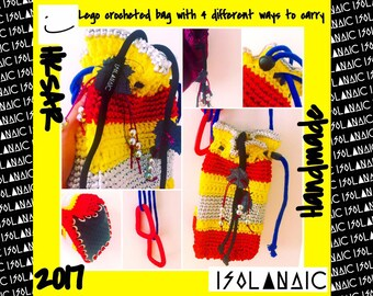 Lego- crocheted handbag with acrylic Carabiner Clip D-ring