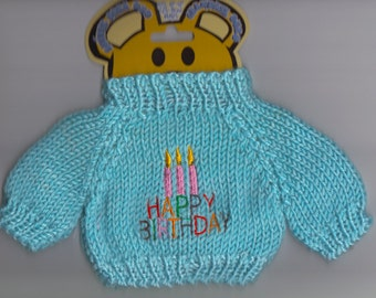 Happy Birthday Bear, Doll or Stuffed Animal Sweater