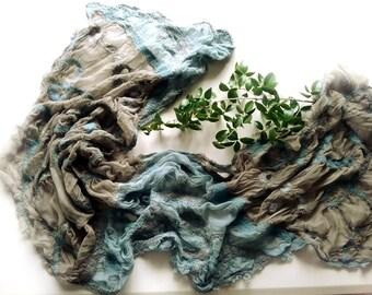 Grey and Blue Nuno Felt Shawl Wrap - Spring and Summer Shawl - Art to Wear - Nuno Felted Accessory