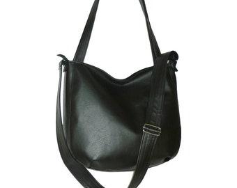 black crossbody bag, black hobo bag, black leather bag, black vegan bag, faux leather black purse, black tote, black vegan crossbody bag