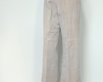 Mod Slacks 1970's Bell Bottoms Beige Flare Hippie Pants Women's Trousers 30 Inch Waist Pants Tagged Size 17/18