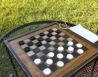 Wood Checkerboard- Handmade-Black and White Wood Checkerboard-Checkerboard Game-Checkerboard Wall Art-Checkered Game Board