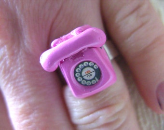 PINK, Retro, Phone, pink with black and white, miniature, fun, ring, by NewellsJewels on etsy