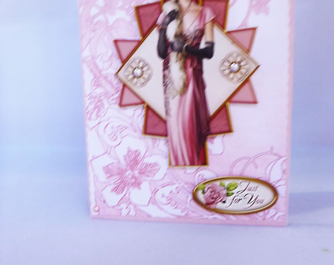 Art Deco Card, Just For You, 1920's Style Birthday Card, Special Day Card, Decoupage Card, Special Birthday, Any Occasion Card