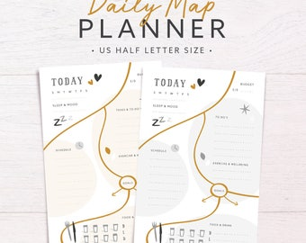 Daily Map Planner | US HALF LETTER • Daily Insert • Planner Refill • Day on one page •  Day per page • Daily Agenda • Day Planner