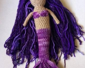 Crochet mermaid doll, purple mermaid, mermaid doll, knit mermaid, crocheted mermaid, ready to ship mermaid, mermaid toy, mermaid amigurumi