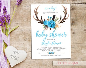 Antler Baby Shower Invitation, Deer Baby Shower, Tribal Baby Shower, Boho Digital Download