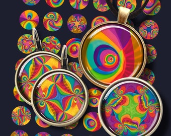 12mm, 16mm, 20mm size Images MAGIC RAINBOW CIRCLES Printable download Digital collage sheets for pendants earrings bracelets rings keychains