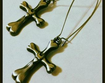 Frankenweenie Sparky Metal Bone Cross Tombstone Long Earrings, Tim Burton Inspired