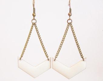 White enameled chevron earrings