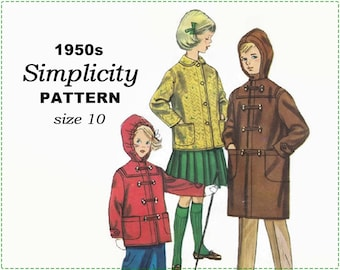 1950s Children's Coat Sewing Pattern - Simplicity s39 s.39 Sewing Pattern - Boy's Girl's Child's Duffle Coat with Hood - Size 10 Chest 28