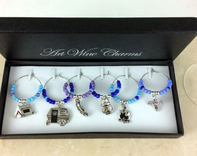 Wine Glass Charms, Wine Lover Gift, Wine Charms, Wine Gift, Camping charms, Custom wine charms, coworker gift, Best friend gift, Gift idea