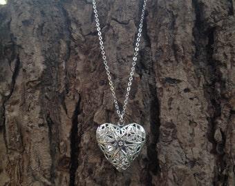 Silver Heart Filigree Locket - Photo Locket Setting