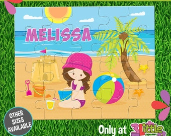 At the Beach Puzzle - Personalized 8 x 10 Puzzle - Personalized Name Puzzle - Personalized Children Puzzle - 20 pieces Puzzle - Summer Party