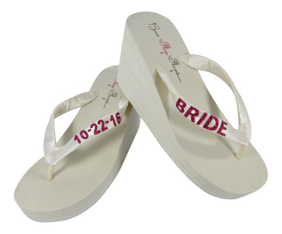 Customized or Pink 2 Flip Hot 3 or 1 or Date White inch Bride Wedding Personalization Wedge Glitter amp; Ivory heel Flops Tg1wtPqwa
