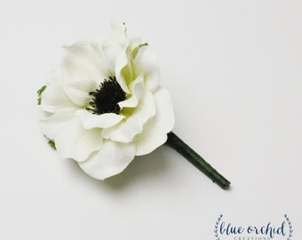 Boutonniere, White Anemone Boutonniere, Wedding Flowers, White and Black, Anemone, Silk Boutonniere, Button Hole, Bout, Groom, Groomsmen,