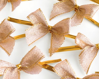 20 Rose Gold Bows with Twist Ties (45mm) - great for wedding favours, home baking and gift wrapping