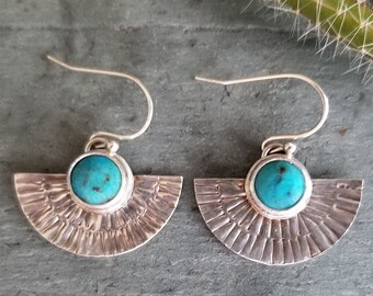 Beautiful, handcrafted Sterling Silver Turquoise drop earrings inspired by the Southwest with hand stamped details