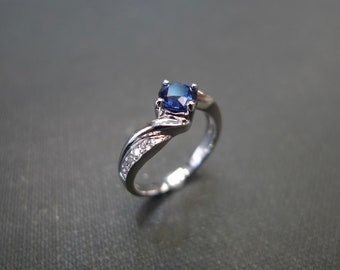 Blue Sapphire Diamond Ring, Diamond Engagement Ring, Blue Sapphire Engagement Ring, Diamond Ring, Sapphire Ring, Diamond Band, Classic Ring
