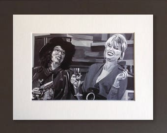 ABSOLUTELY FABULOUS wall art - giclee print of 'Sweetie Darling' acrylic painting by Stephen Mahoney - vintage Patsy and Edina getting drunk