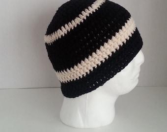 Mens Crochet Beanie, Men's Crochet Hat Two-Toned Black and Off White, Teen Boys Crochet Beanie Black and Off White, Mens Crochet Winter Hat