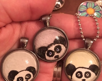 Small 25mm Circle Panda Original Pastel Drawing Necklace