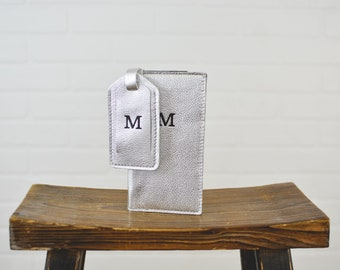 Personalized Leather Travel Wallet + Luggage Tag Gift Set| Leather Passport Holder Cover Wallet + Suitcase Tag Bridesmaid Gift for Her Wife