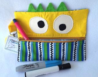 Zipper Pouch, Pencil Case, Reusable snack bag, Reusable, Crayon Holder, Back to School, Monster Bag, School Supplies, Zipper Pencil Pouch,
