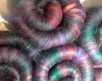 Ready to spin Rolags / Merino Top-Alpaca Cria Top-Angelina-Silk-Firestar Spinning Fiber