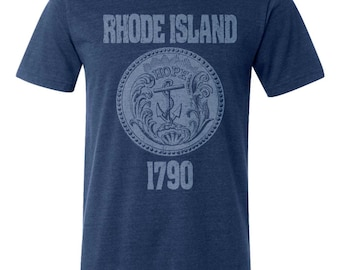 Rhode Island State Seal T-Shirt. Vintage Style Soft Retro East Coast Shirt Unisex Men's Slim Fit and Women's Tee
