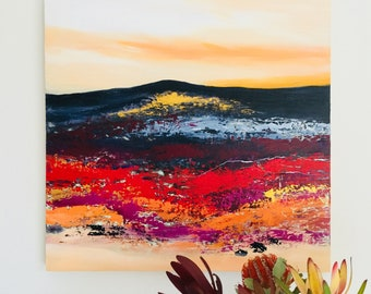 Original Landscape painting, abstract art, Acylic paint, Red hills