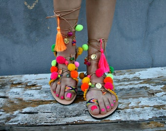 Tie Up  Gladiator leather -Thassos-Pom pom boho sandal-friendships bracelets-charms