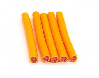 5 canes polymer clay grapefruit 5cm