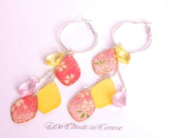 Earrings, cherry blossom, coral, yellow, japanese flowers, floral pattern, japanese style, japanese design, floral design