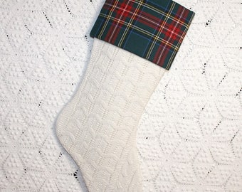 Antique Knit Stocking | Royal Stewart Tartan Plaid Cuff | Antique Coverlet Christmas Stocking | Fisherman Knit Stocking | Green Tartan Cuff